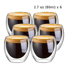 Load image into Gallery viewer, New 6Pcs 80ml 2.7oz Glass Double Wall Heat Insulated Tumbler Espresso Tea Cup Coffee Mug