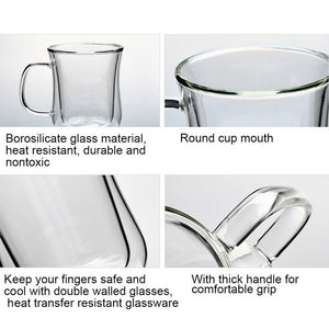 1pc LASPERAL Coffee - Tea  Mug / Cup  Double Wall Glass Thermal Insulated Tea  Cup.