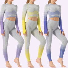 Load image into Gallery viewer, Seamless Yoga Suit 2 Piece Sports Set Shirts Crop Top Seamless Leggings