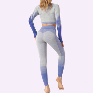 Seamless Yoga Suit 2 Piece Sports Set Shirts Crop Top Seamless Leggings