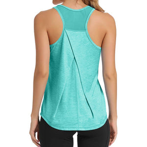 Women Workout Tops Mesh Workouts Sport Backless Tops