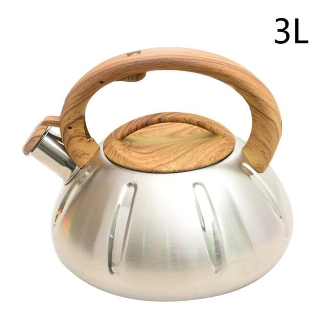 Stovetop Whistling Nonslip  Stainless Steel Teapot With Wood Grain Handle
