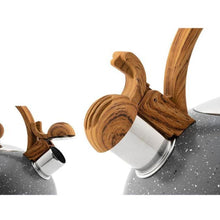 Load image into Gallery viewer, Stovetop Whistling Nonslip  Stainless Steel Teapot With Wood Grain Handle