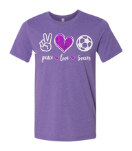 Load image into Gallery viewer, Peace, Love, Your Sport Short Sleeve Graphic T-shirt