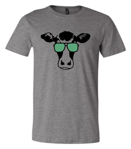 Dairy Cow with Sun glasses Short-Sleeve Graphic T-shirt