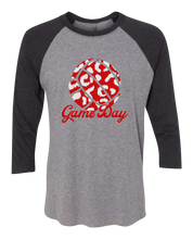 Load image into Gallery viewer, Leopard Game/Race Day Raglan 3/4 Sleeve Graphic Shirt