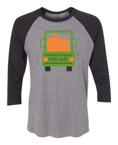 Hello Fall Truck 3/4 Sleeve Graphic Shirt