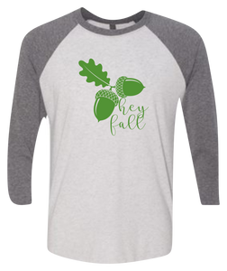 Hey Fall Raglan 3/4 Sleeve Graphic Shirt