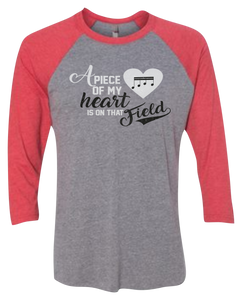 A Piece of My Heart is on That... Raglan 3/4 Sleeve Graphic Shirt