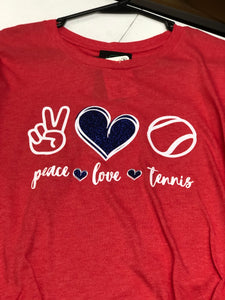 Red Peace Love Tennis Short Sleeve Shirt