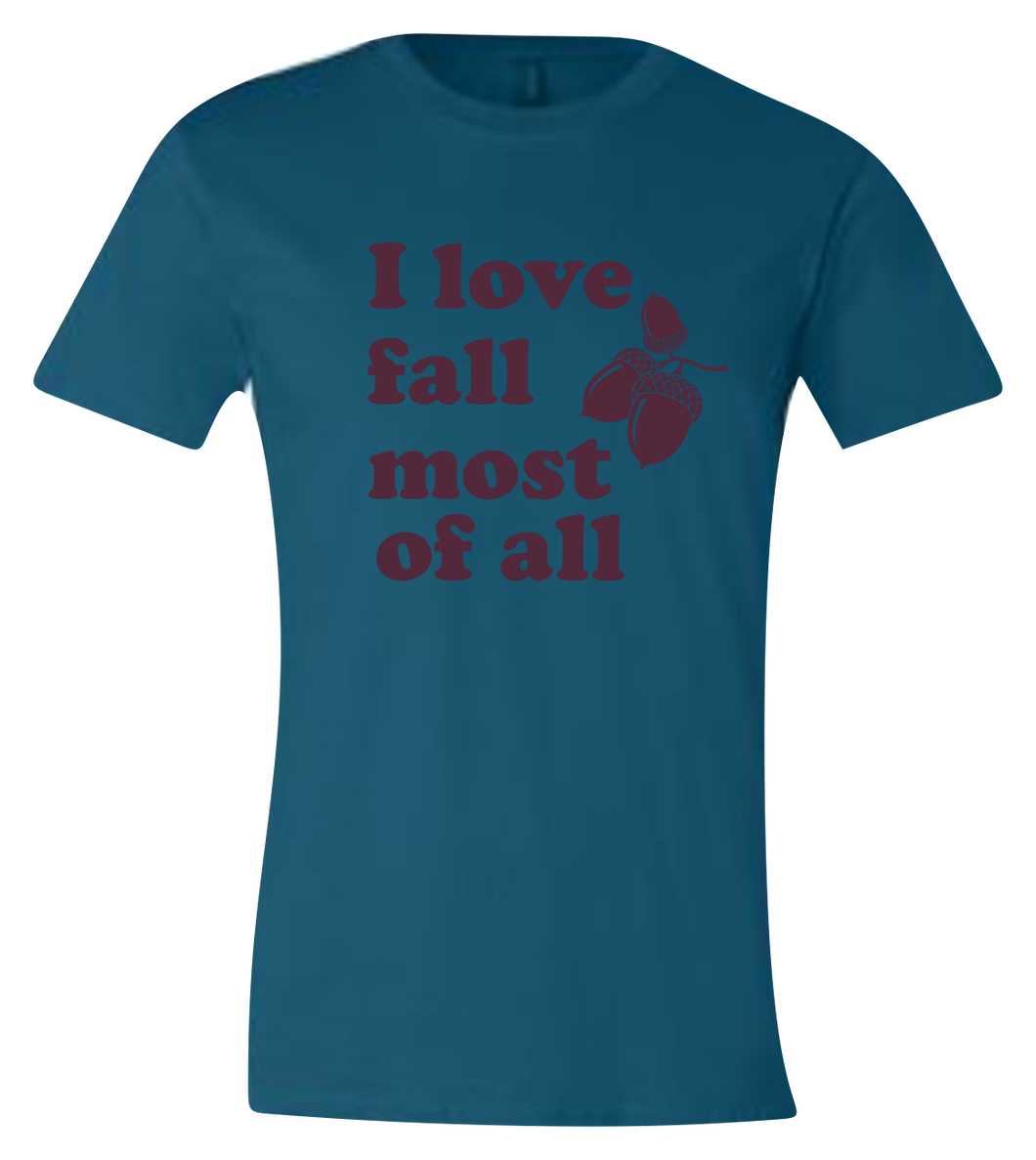 I Love Fall Most of All Short Sleeve Graphic T-shirt