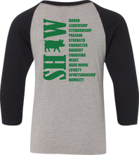 Load image into Gallery viewer, 4-H Show Animal Raglan 3/4 Sleeve Graphic Shirt