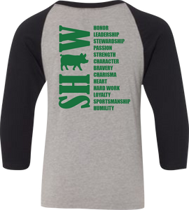4-H Show Animal Raglan 3/4 Sleeve Graphic Shirt