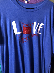 Royal Blue Love Band with drum short sleeve Shirt