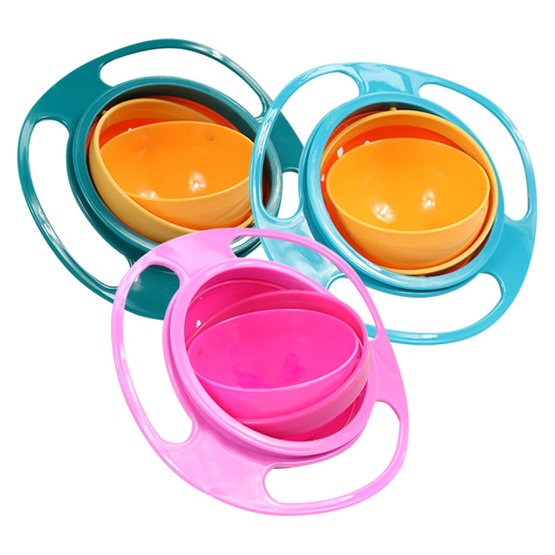 Gyro Bowl Practical Design Children Rotary Balance Novelty Gyro Umbrella 360 Rotate Spill-Proof Solid Feeding Dishes