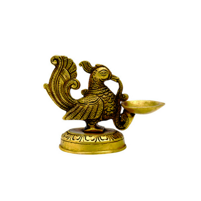 Handmade Indian Puja Brass Peacock