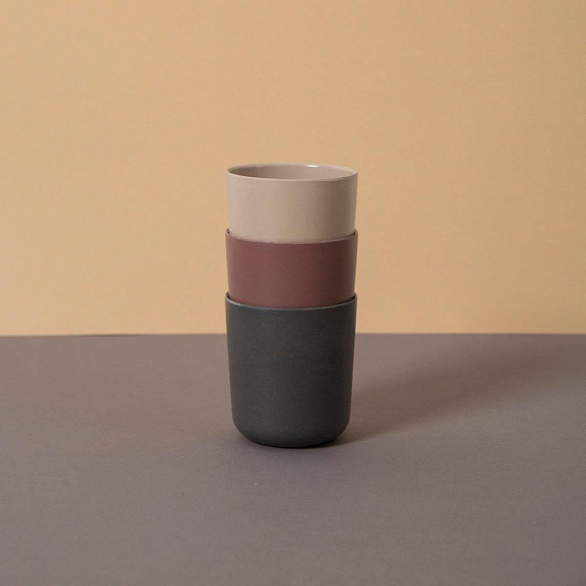 Bamboo set of Cups, Fog|Beet|Ocean