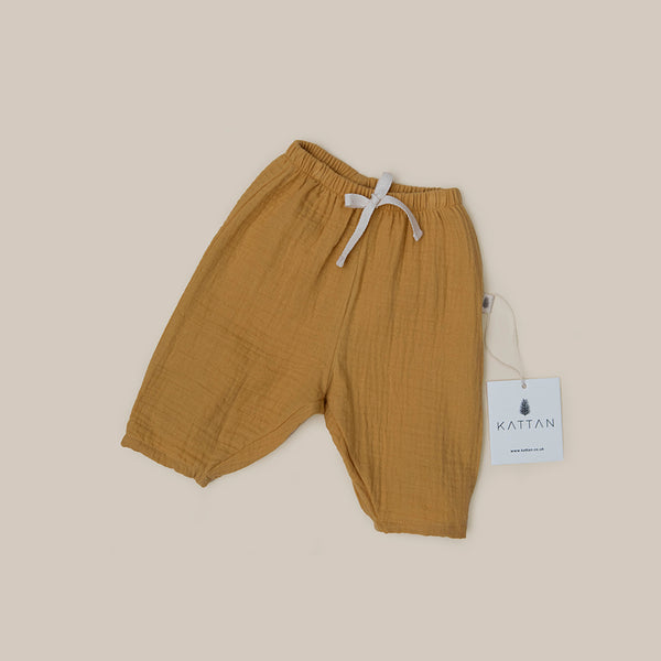 Mustard organic cotton baby boy baby girl pants