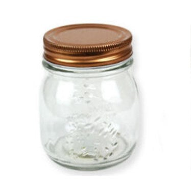 Kraft Collection 250ml Glass Storage Jar Rold Gold Screw Lid