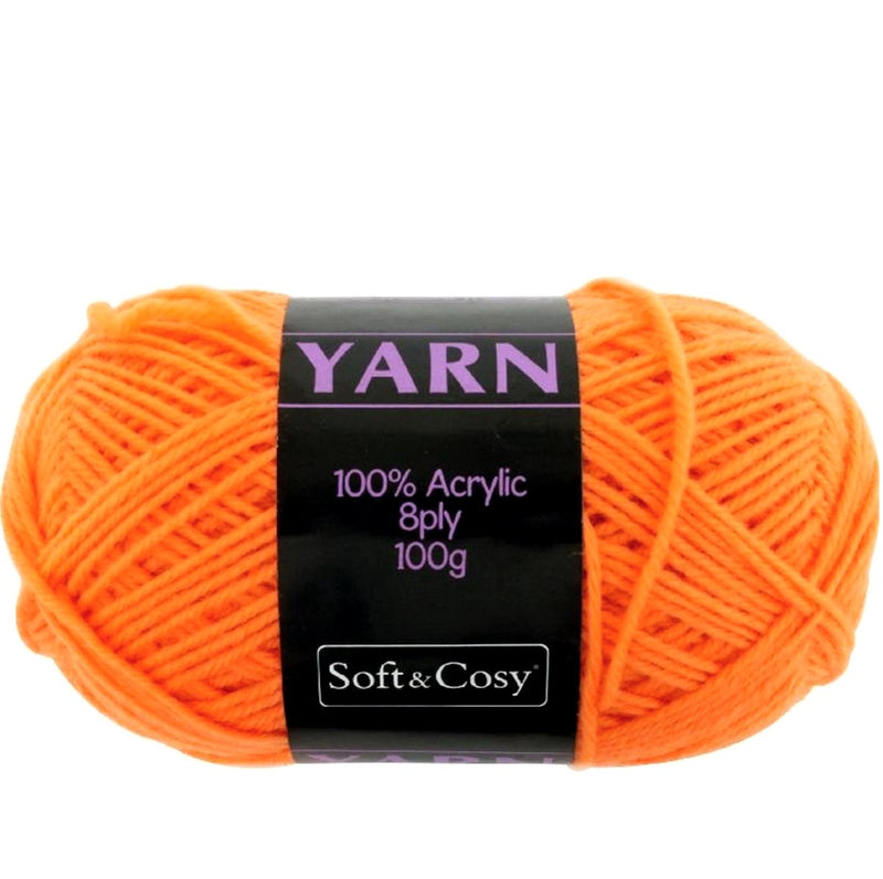 Soft & Cozy Soft & Cozy 100g Acrylic 8ply Knitting Yarn Bright Orange