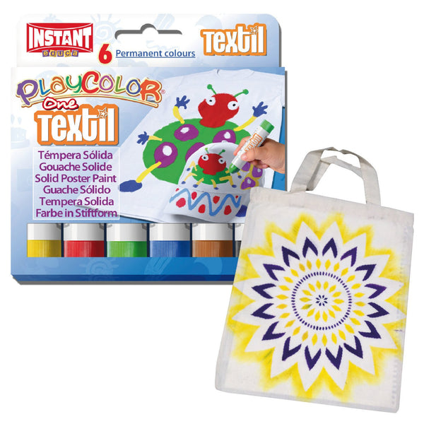 TEXTIL Playcolor Permanent Fabric Paint Sticks Pens Set 12 Colours