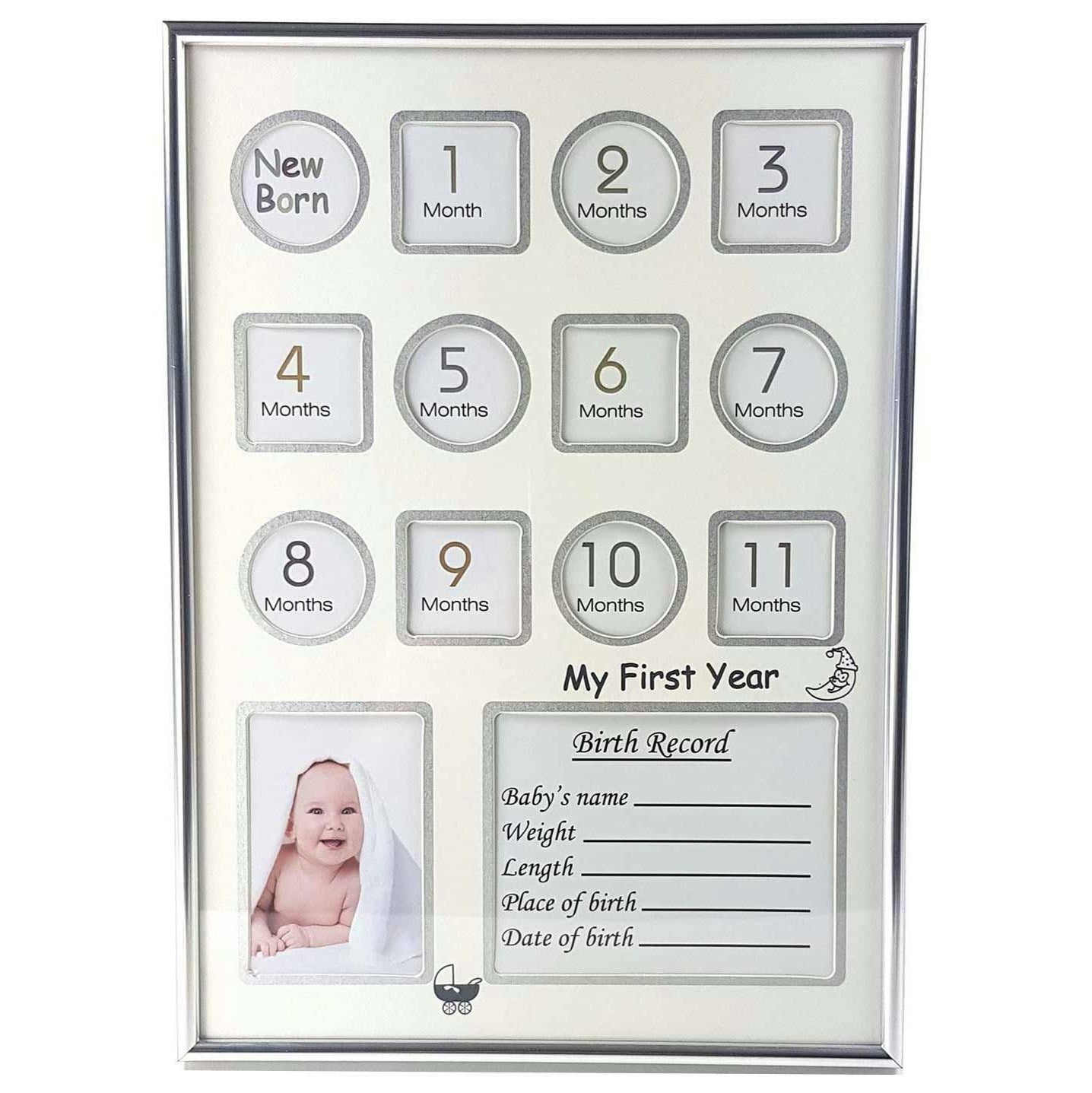 Baby's First Year & Birth Record Photo Frame Collage - Unisex