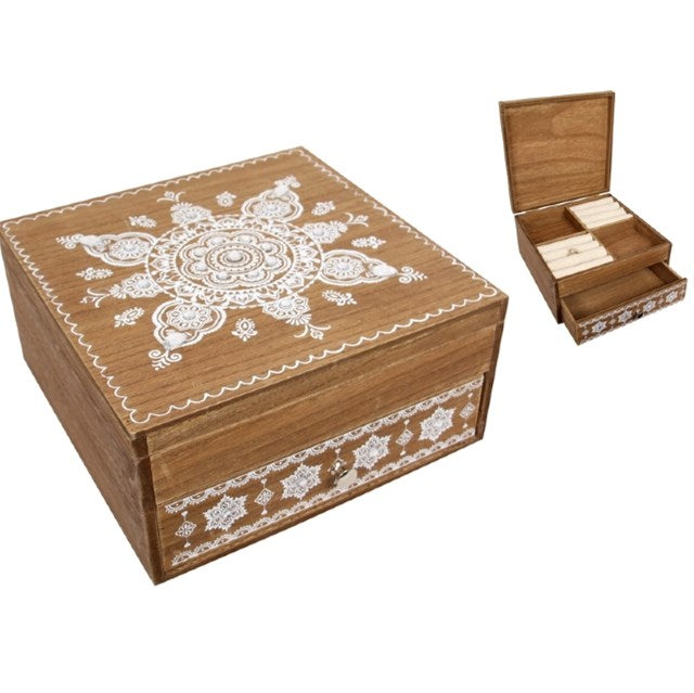 Avon Boho Jewellery Wooden Storage Box 20x20cm