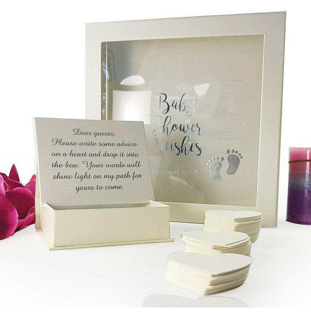Baby Shower Guest Book Wishes Drop Box + 80 Heart Cards