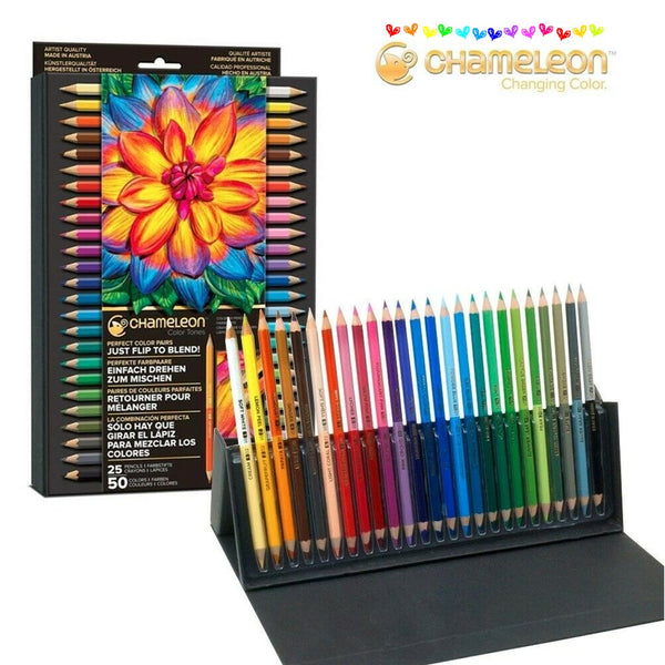 CHAMELEON Coloured Tones Pencils + Storage Case - 50 Colours!