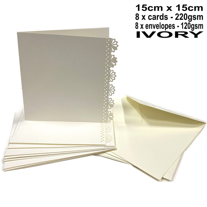 Kraft Collection Decorative Blank Square Cards & Envelopes Ivory