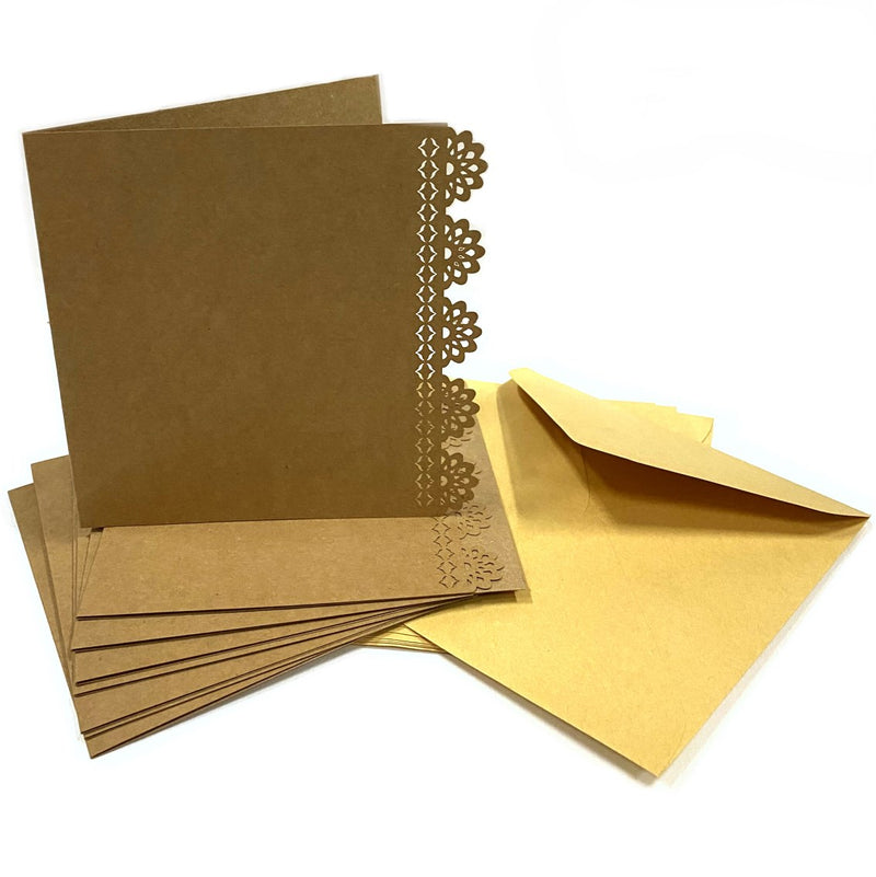 Kraft Collection Decorative Blank Square Cards & Envelopes Kraft