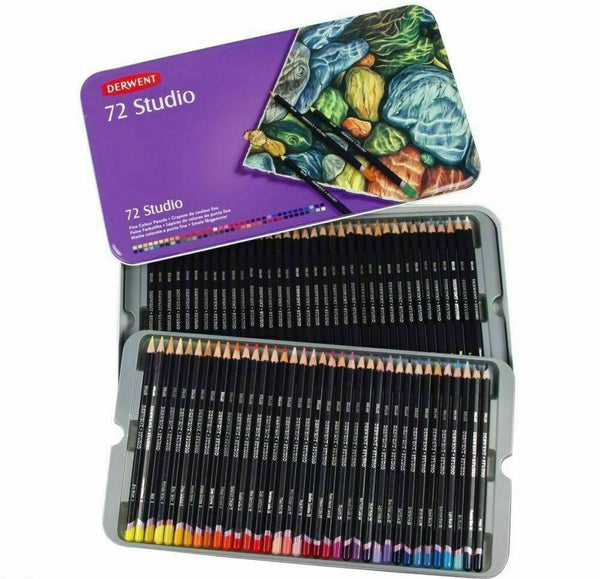 Derwent Studio 72 Colouring Pencils Tin Set - 72 Brilliant Colours
