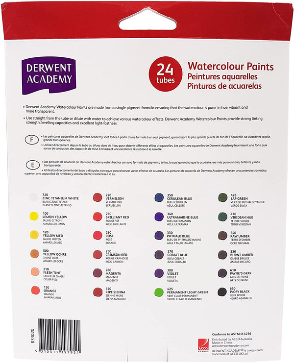 Derwent 24 Colours x 12ml Watercolour Paint Tubes Set