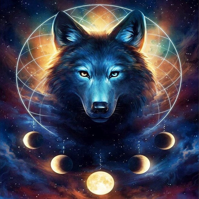 5D Picture 5D Diamond Art Painting Canvas Kit Dark Wolf