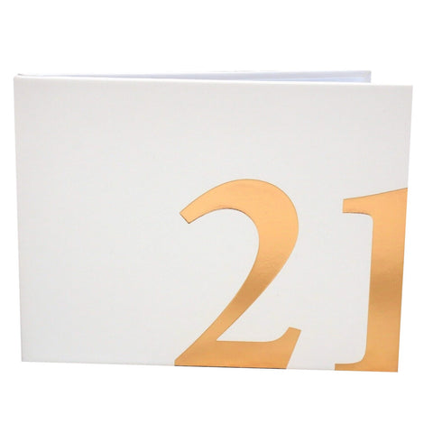 21st Birthday Party Guest book Keepsake Gift - With rose gold title!