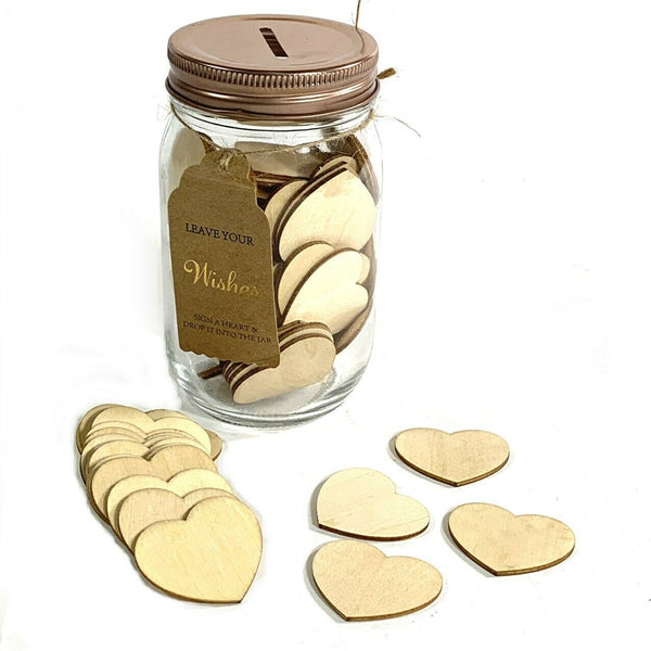 Well Wishes Jar Keepsake + 100 Wooden Hearts Guest Book