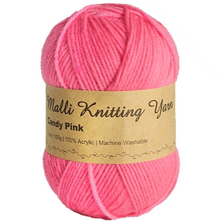 Malli 100g Knitting Yarn Balls 8 Ply Acrylic Wool - Candy Pink