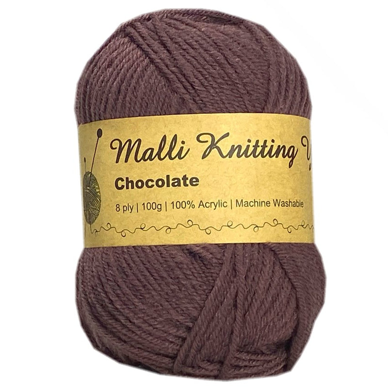 Malli 100g Knitting Yarn Balls 8 Ply Acrylic Wool - Chocolate