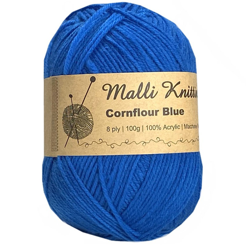 Malli 100g Knitting Yarn Balls 8 Ply Acrylic Wool - Conflour Blue