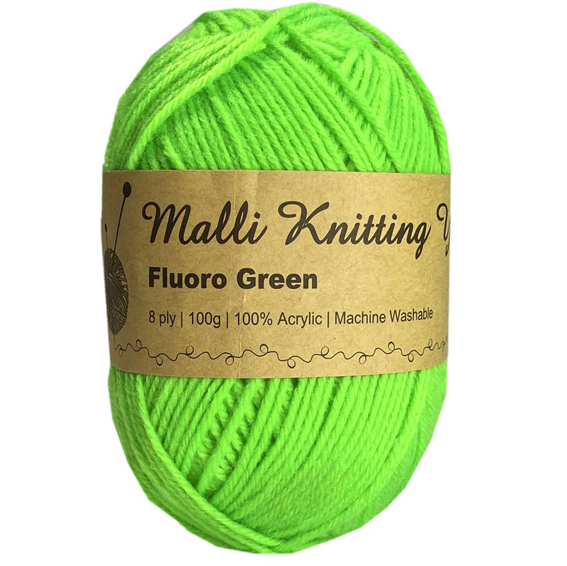 Malli 100g Knitting Yarn Balls 8 Ply Acrylic Wool - Fluoro Green