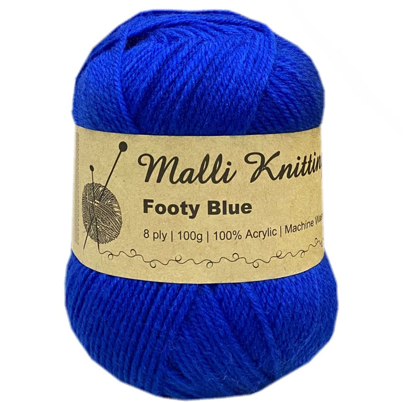 Malli 100g Knitting Yarn Balls 8 Ply Acrylic Wool - Footy Blue