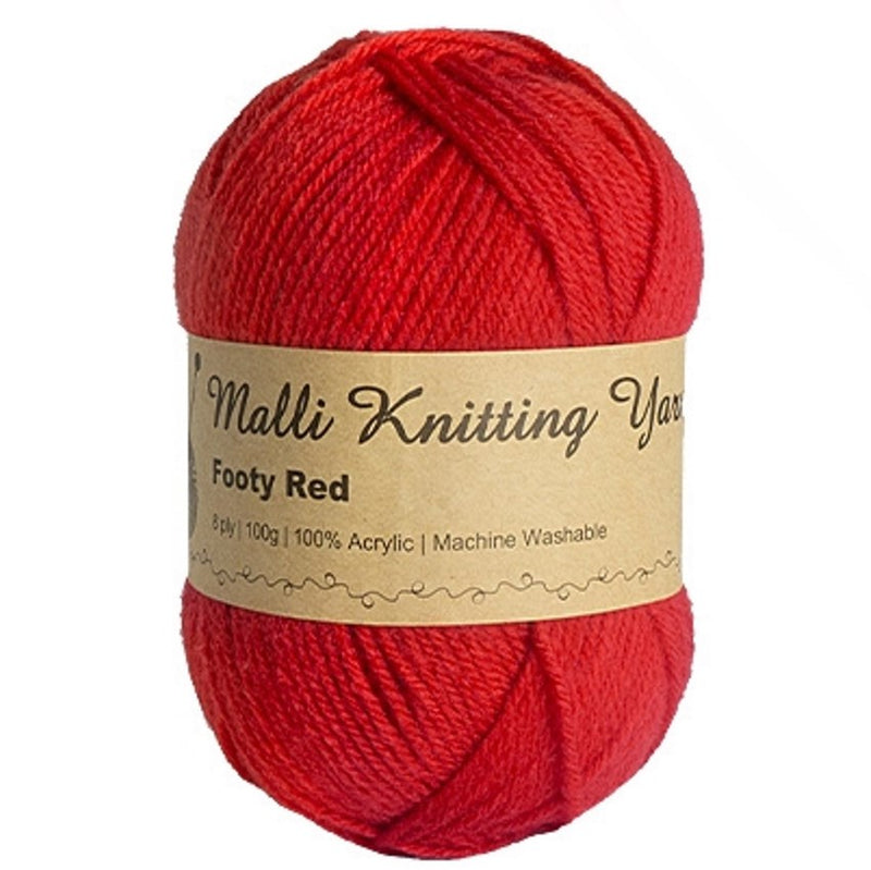 Malli 100g Knitting Yarn Balls 8 Ply Acrylic Wool - Footy Red