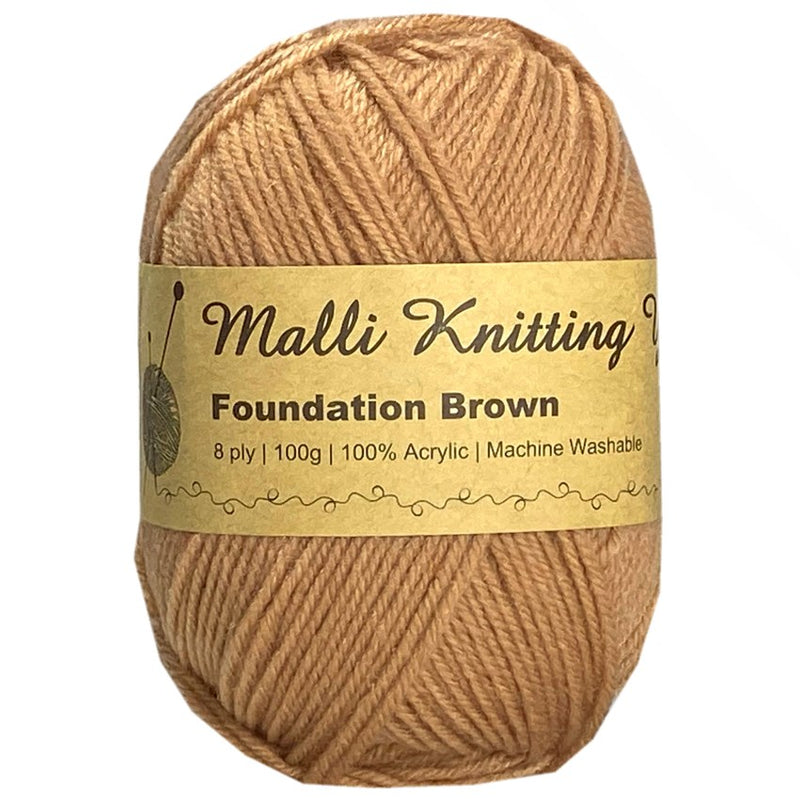 Malli Knitting Malli Knitting 100g Acrylic Yarn - Foundation Brown