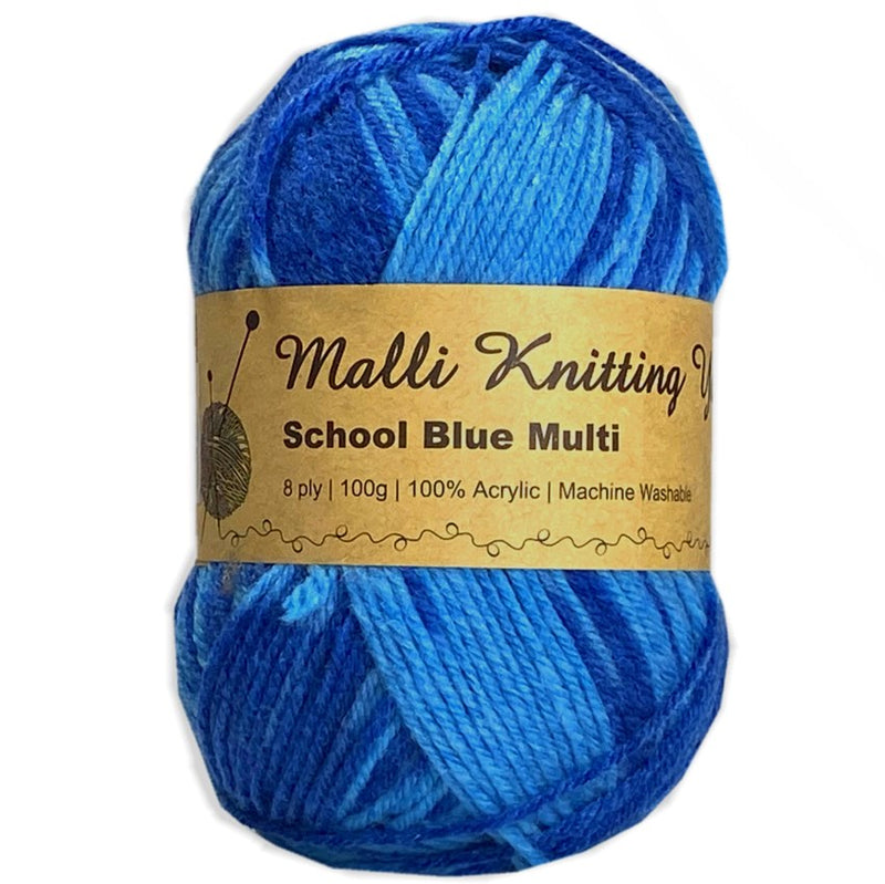 Malli 100g Knitting Yarn Balls 8 Ply Acrylic Wool - School Blue Multi