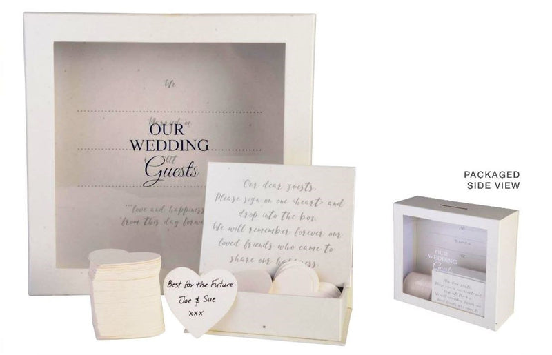 Wedding Guest Book Drop Box + 80 Heart Cards