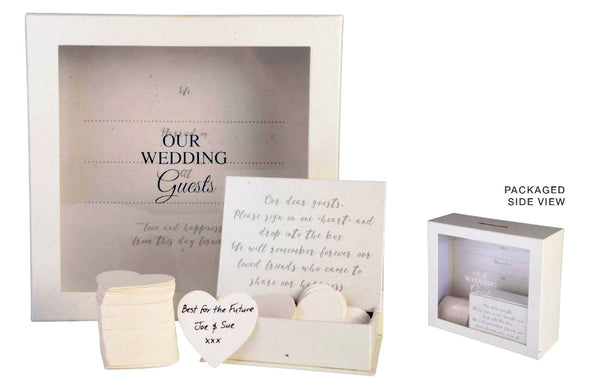 Wedding Guest Book Wishes Drop Box - Includes 80 Heart Cards