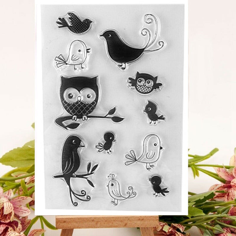 Kraft Collection Woodland Birds Owl Clear Stamps Set