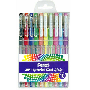 PENTEL 10pk Coloured Hybrid Gel Grip Pens - Acid Free Ink