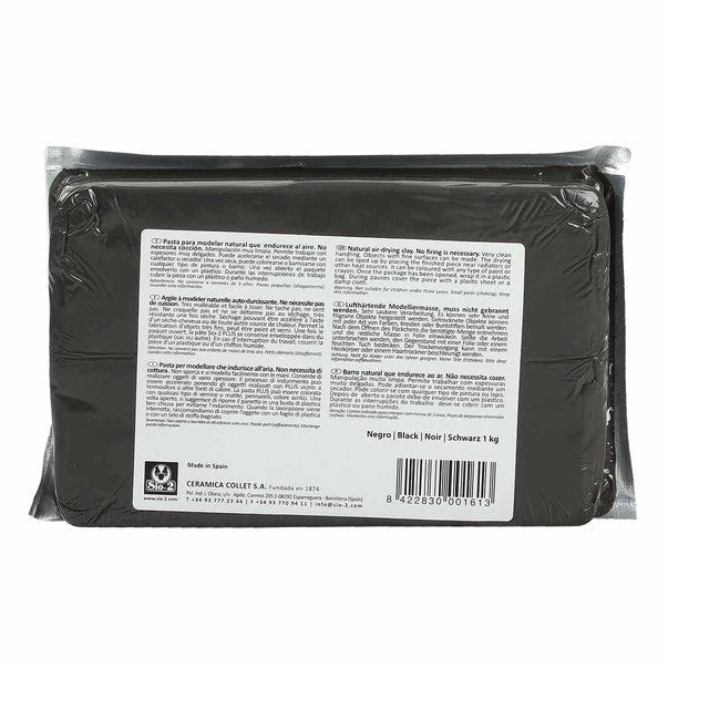 Sio-2 Plus Air Drying Modelling Clay - Black 1Kg