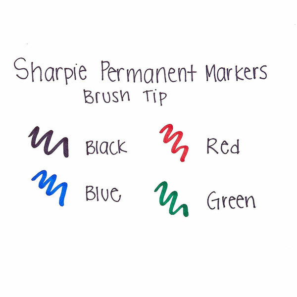 4 Pack SHARPIE Permanent Brush Tip Markers Pens